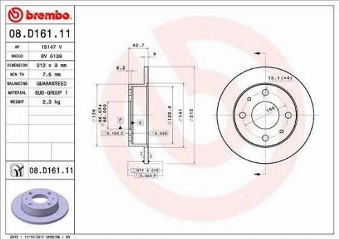 AP 15147 V - Bremžu diski interparts.lv