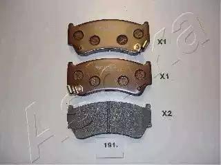 Ashika 50-01-191 - Bremžu uzliku kompl., Disku bremzes interparts.lv