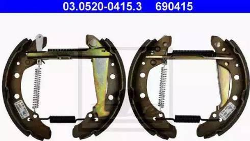 ATE 03.0520-0415.3 - Bremžu komplekts, trumuļa bremzes interparts.lv