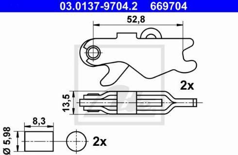 ATE 03.0137-9704.2 - Piederumu komplekts, Stāvbremzes mehānisma bremžu loks interparts.lv