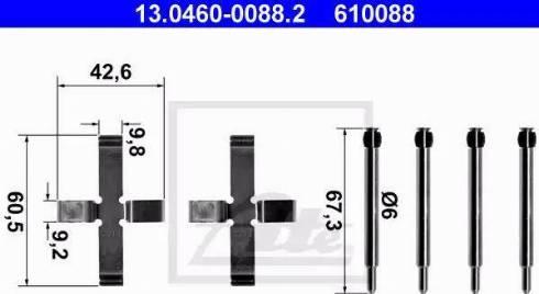 ATE 13.0460-0088.2 - Piederumu komplekts, Disku bremžu uzlikas interparts.lv