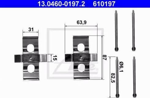 ATE 13.0460-0197.2 - Piederumu komplekts, Disku bremžu uzlikas interparts.lv