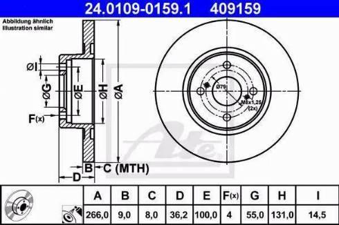 ATE 24.0109-0159.1 - Bremžu diski interparts.lv