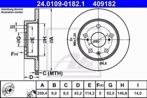 ATE 24.0109-0182.1 - Bremžu diski interparts.lv