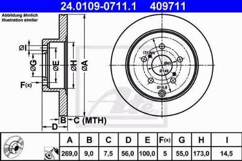 ATE 24.0109-0711.1 - Bremžu diski interparts.lv