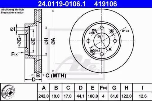 ATE 24.0119-0106.1 - Bremžu diski interparts.lv