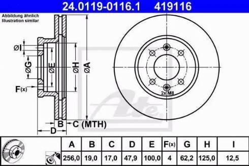 ATE 24.0119-0116.1 - Bremžu diski interparts.lv