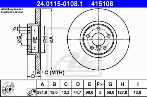 ATE 24.0115-0108.1 - Bremžu diski interparts.lv