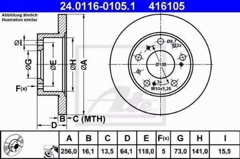 ATE 24.0116-0105.1 - Bremžu diski interparts.lv