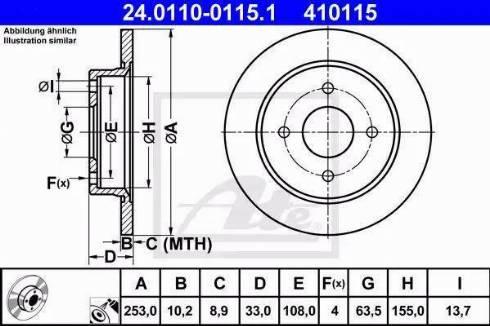 ATE 24.0110-0115.1 - Bremžu diski interparts.lv