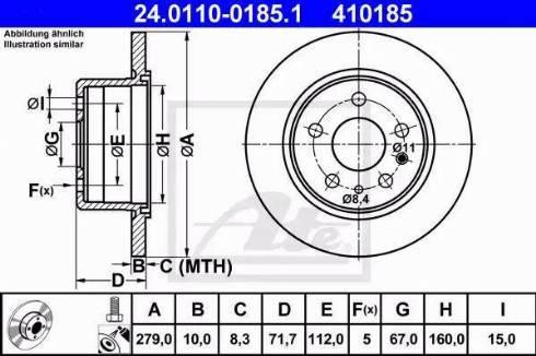 ATE 24.0110-0185.1 - Bremžu diski interparts.lv