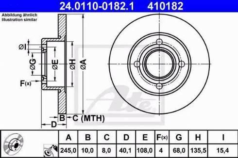 ATE 24.0110-0182.1 - Bremžu diski interparts.lv