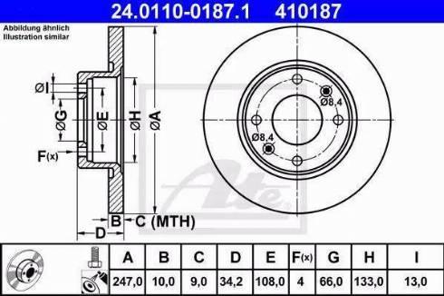ATE 24.0110-0187.1 - Bremžu diski interparts.lv