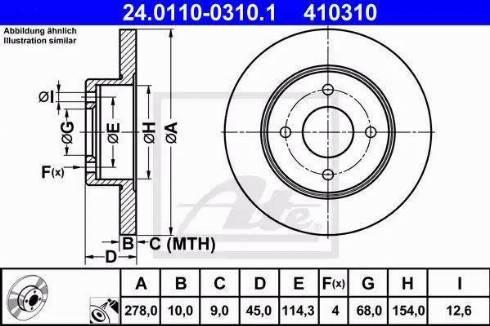 ATE 24.0110-0310.1 - Bremžu diski interparts.lv