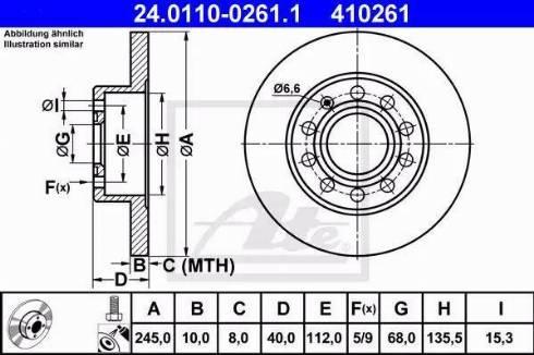 ATE 24.0110-0261.1 - Bremžu diski interparts.lv