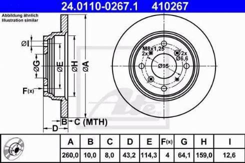 ATE 24.0110-0267.1 - Bremžu diski interparts.lv