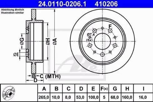 ATE 24.0110-0206.1 - Bremžu diski interparts.lv
