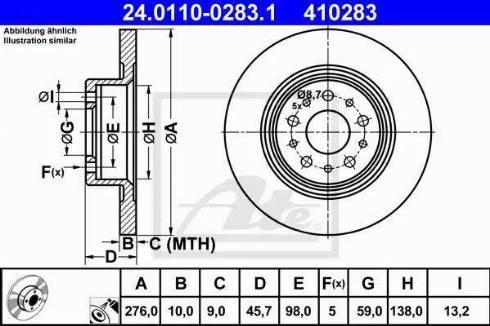ATE 24.0110-0283.1 - Bremžu diski interparts.lv