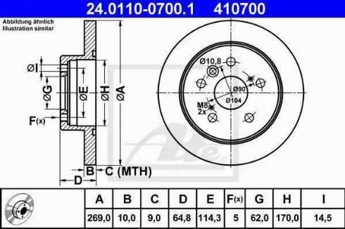 ATE 24.0110-0700.1 - Bremžu diski interparts.lv