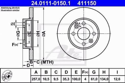 ATE 24.0111-0150.1 - Bremžu diski interparts.lv