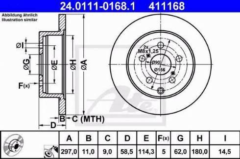 ATE 24.0111-0168.1 - Bremžu diski interparts.lv