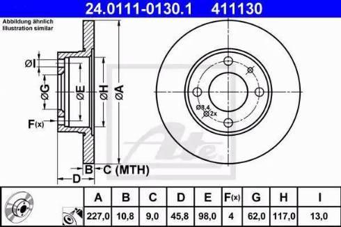 ATE 24.0111-0130.1 - Bremžu diski interparts.lv