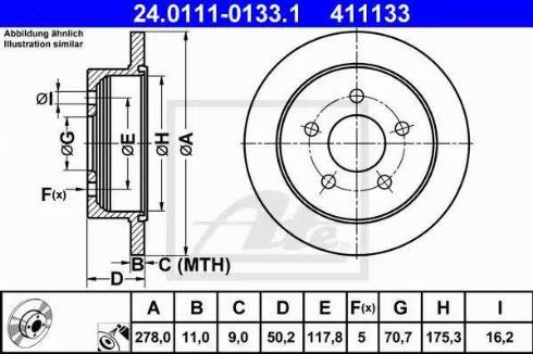 ATE 24.0111-0133.1 - Bremžu diski interparts.lv