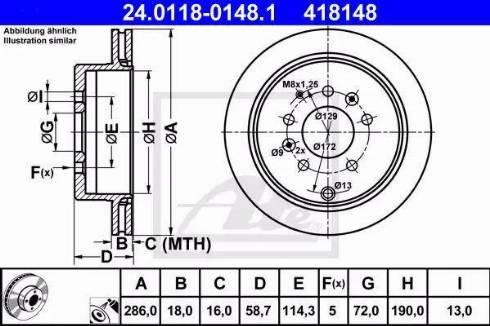 ATE 24.0118-0148.1 - Bremžu diski interparts.lv