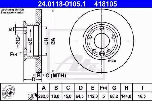 ATE 24.0118-0105.1 - Bremžu diski interparts.lv