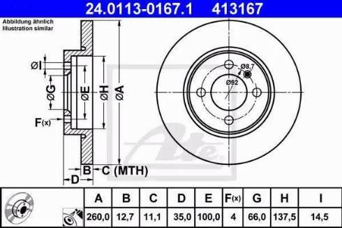 ATE 24.0113-0167.1 - Bremžu diski interparts.lv
