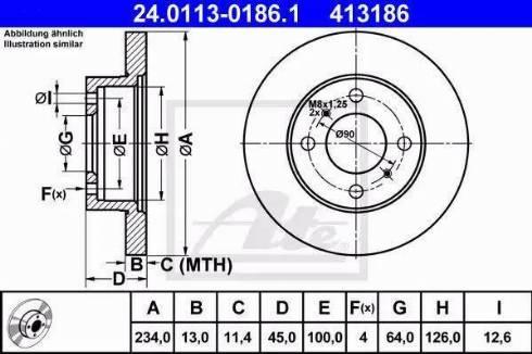 ATE 24.0113-0186.1 - Bremžu diski interparts.lv