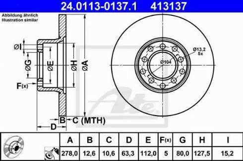 ATE 24.0113-0137.1 - Bremžu diski interparts.lv