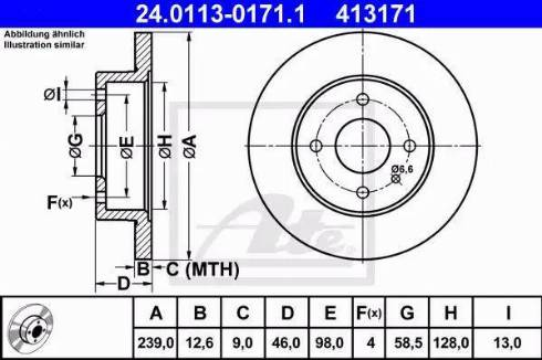 ATE 24.0113-0171.1 - Bremžu diski interparts.lv