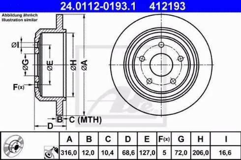 ATE 24.0112-0193.1 - Bremžu diski interparts.lv