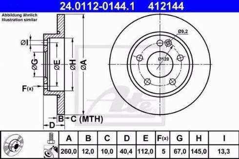 ATE 24.0112-0144.1 - Bremžu diski interparts.lv