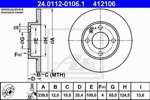 ATE 24.0112-0106.1 - Bremžu diski interparts.lv