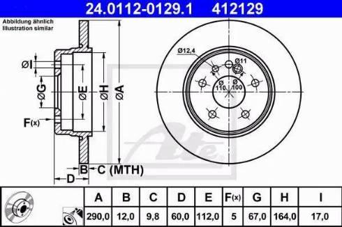 ATE 24.0112-0129.1 - Bremžu diski interparts.lv