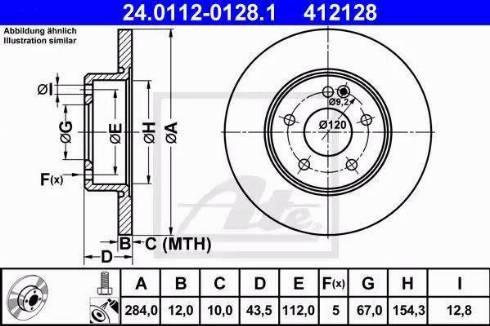 ATE 24.0112-0128.1 - Bremžu diski interparts.lv