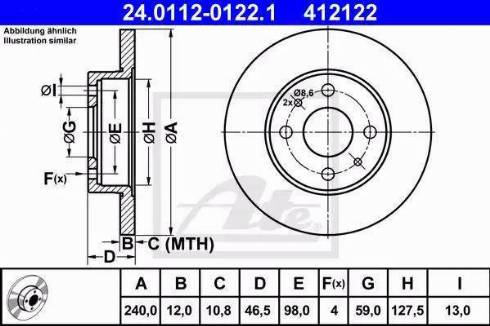 ATE 24.0112-0122.1 - Bremžu diski interparts.lv