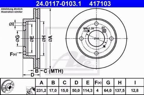 ATE 24.0117-0103.1 - Bremžu diski interparts.lv