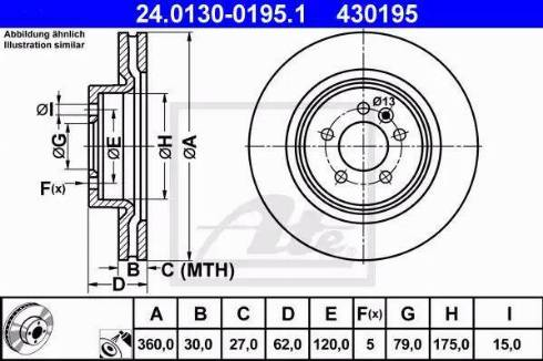 ATE 24.0130-0195.1 - Bremžu diski interparts.lv