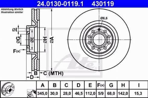 ATE 24.0130-0119.1 - Bremžu diski interparts.lv