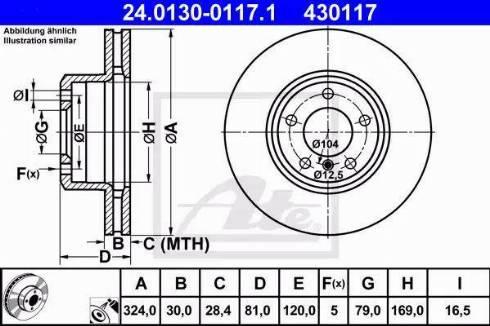 ATE 24.0130-0117.1 - Bremžu diski interparts.lv