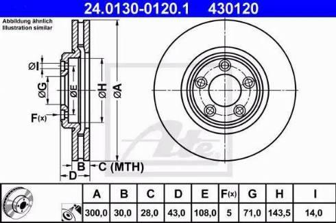 ATE 24.0130-0120.1 - Bremžu diski interparts.lv