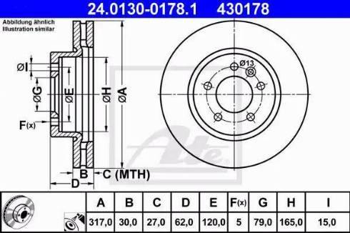 ATE 24.0130-0178.1 - Bremžu diski interparts.lv