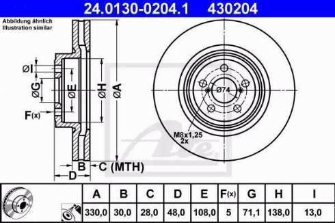 ATE 24.0130-0204.1 - Bremžu diski interparts.lv