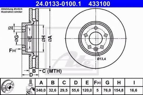 ATE 24.0133-0100.1 - Bremžu diski interparts.lv