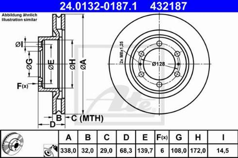 ATE 24.0132-0187.1 - Bremžu diski interparts.lv