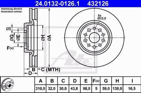 ATE 24.0132-0126.1 - Bremžu diski interparts.lv