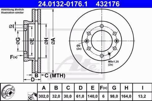 ATE 24.0132-0176.1 - Bremžu diski interparts.lv